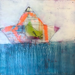 "Dream Delivery, 16 x 16"" encaustic"