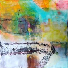 "Fleet, 10 x 10"" encaustic"