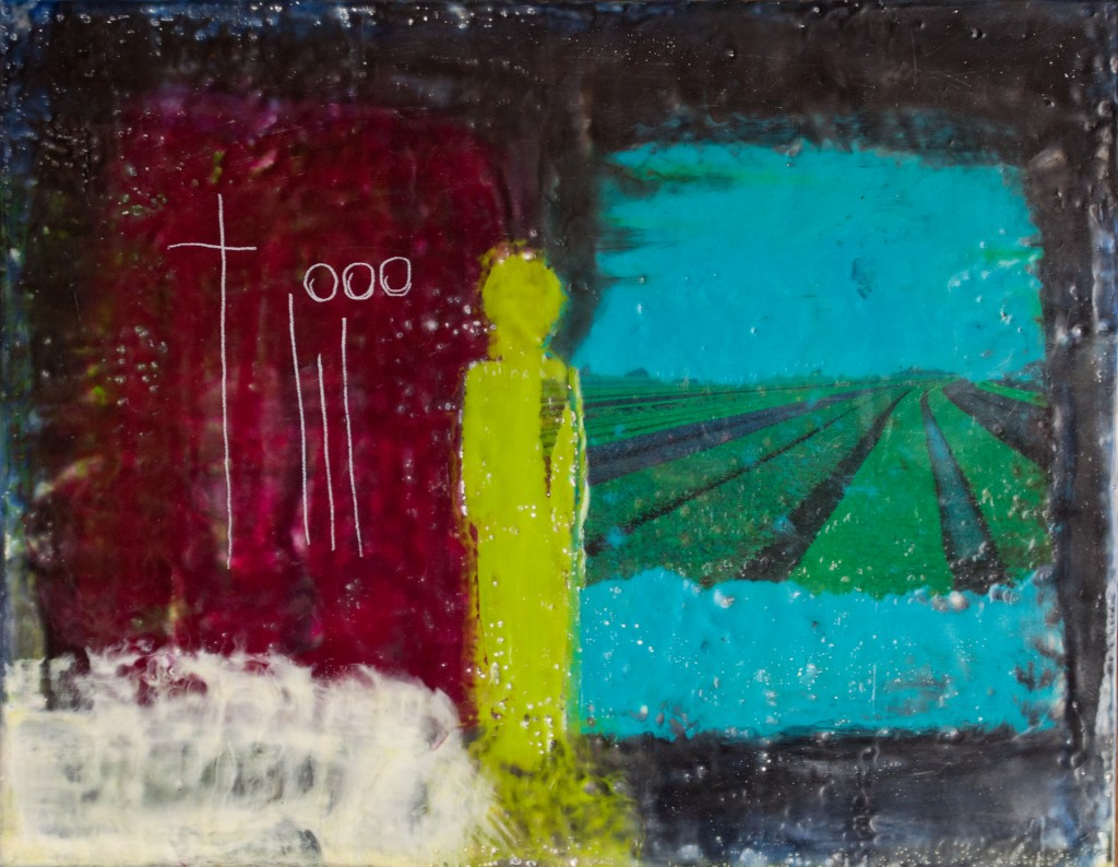 "Preacher Man 11x14 encaustic painting on 2"" cradled claybord $250"